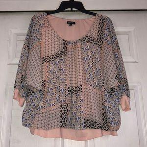 Relativity 2X peach blouse 3/4 sleeves
